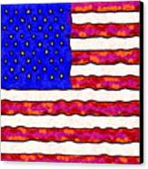 Van Gogh.s Starry American Flag . Square Canvas Print by Wingsdomain Art and Photography