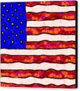 Van Gogh.s Starry American Flag Canvas Print by Wingsdomain Art and Photography