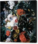 Vase Of Flowers Canvas Print by Jan Van Huysum