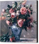 Vase Of Roses Canvas Print by Pierre Auguste Renoir