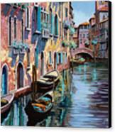 Venezia In Rosa Canvas Print by Guido Borelli