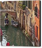 Venice Ride With Gondola Canvas Print by Heiko Koehrer-Wagner