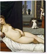 Venus Of Urbino Before 1538 Canvas Print by Tiziano Vecellio