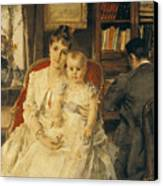 Victorian Family Scene Canvas Print by Alfred Emile Stevens