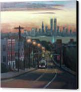 Victory Boulevard At Dawn Canvas Print by Sarah Yuster