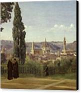 View Of Florence From The Boboli Gardens Canvas Print by Jean Baptiste Camille Corot
