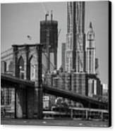 View Of One World Trade Center And Brooklyn Bridge Canvas Print by Matt Pasant