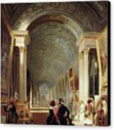 View Of The Grande Galerie Of The Louvre Canvas Print by Patrick Allan Fraser