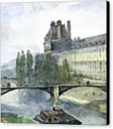 View Of The Pavillon De Flore Of The Louvre Canvas Print by Francois-Marius Granet