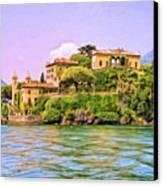 Villa On Lake Como Canvas Print by Dominic Piperata