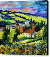 Village And Blue Poppies  Canvas Print by Pol Ledent