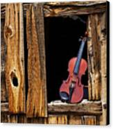 Violin In Window Canvas Print by Garry Gay