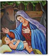 Virgin Mary And Baby Jesus Canvas Print by Gaspar Avila