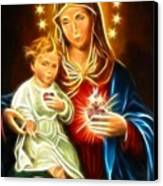 Virgin Mary And Baby Jesus Sacred Heart Canvas Print by Pamela Johnson