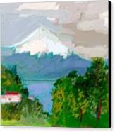 Volcanes Sur De Chile Canvas Print by Carlos Camus