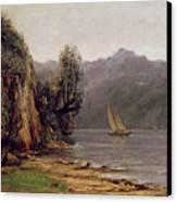 Vue Du Lac Leman Canvas Print by Gustave Courbet