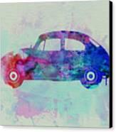 Vw Beetle Watercolor 1 Canvas Print by Naxart Studio