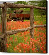 Wagon In Paintbrush - Texas Wildflowers Wagon Fence Landscape Flowers Canvas Print by Jon Holiday