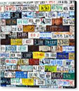 Wall Of American License Plates Canvas Print by Christine Till