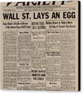 Wall Street Lays An Egg. Famous Canvas Print by Everett