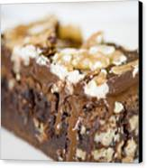 Walnut Brownie On A White Plate Canvas Print by Ulrich Schade