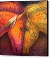 War Horse And Peace Horse Canvas Print by Sue Halstenberg