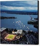 Washington Aerial View Of Husky Stadium Canvas Print by Jay Drowns