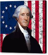 Washington And The American Flag Canvas Print by War Is Hell Store
