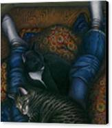We 3 Nap With My Cats Canvas Print by Carol Wilson