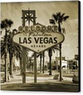 Welcome To Las Vegas Series Sepia Grunge Canvas Print by Ricky Barnard