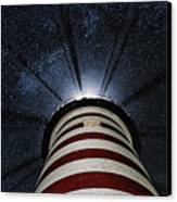 West Quoddy Head Lighthouse Night Light Canvas Print by Marty Saccone