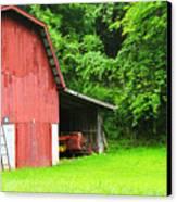 West Virginia Barn And Baler Canvas Print by Thomas R Fletcher