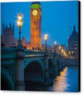 Westminster Bridge At Night Canvas Print by Inge Johnsson