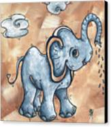 Whimsical Pop Art Childrens Nursery Original Elephant Painting Adorable By Madart Canvas Print by Megan Duncanson