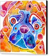Whimsical Pug Dog Canvas Print by Jo Lynch