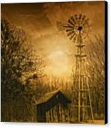 Windmill At Sunset Canvas Print by Iris Greenwell