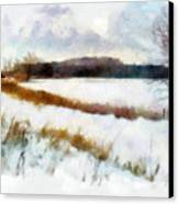 Windmill In The Snow Canvas Print by Valerie Anne Kelly