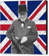 Winston Churchill And His Flag Canvas Print by War Is Hell Store