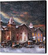 Winter - Clinton Nj - Silent Night  Canvas Print by Mike Savad