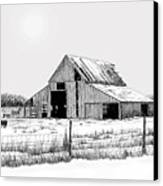 Winter Barn Canvas Print by Lyle Brown