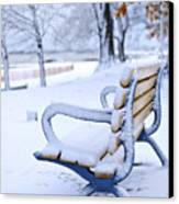 Winter Bench Canvas Print by Elena Elisseeva