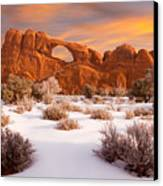 Winter Dawn At Arches National Park Canvas Print by Utah Images