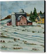 Winter Down On The Farm Canvas Print by Charlotte Blanchard