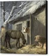 Winter Farmyard Canvas Print by George Morland