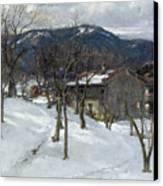 Winter Landscape Near Kutterling Canvas Print by Johann Sperl