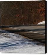 Winter Run Canvas Print by Linda Shafer