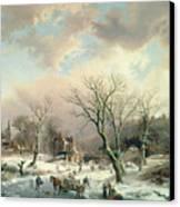Winter Scene   Canvas Print by Johannes Petrus van Velzen