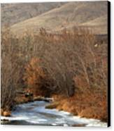 Winter Yakima River With Hills And Orchard Canvas Print by Carol Groenen