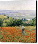 Woman In A Poppy Field Canvas Print by Leon Giran Max