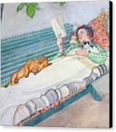 Woman Lying On A Bench Canvas Print by Carl Larsson